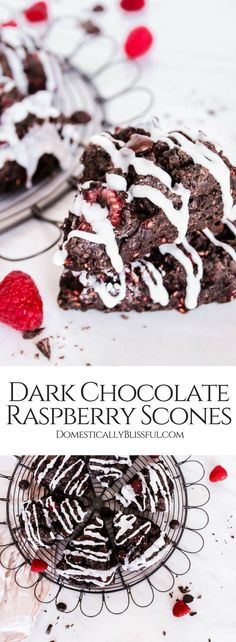 These decadent Dark Chocolate Raspberry Scones are as delicious as they sound! Full of rich chocolatey flavor & fresh fruit you will love these scones for breakfast, brunch, & especially dessert! | scones recipe | easy scones recipe | easy scones | chocolate chip scones | chocolate scones | simple scones recipe | berry scones | moist scones | best scones | breakfast scones | brunch scones | dessert scones | sweet scones | dark chocolate chips | baking recipe | baking breakfast | make ahead