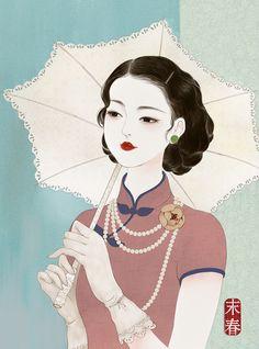art for art's sake — by 末春 Geisha Art, China Painting, Art Graphique, Art For Art Sake, Chinese Art, Chinese Element, Chinese Design, Heart Art, Ancient Art