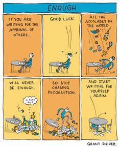 """Stop chasing recognition and start writing for yourself again. Stop chasing recognition and start writing for yourself again. """"stuck in a book"""" poster """"Conflict in Literature"""" Poster · Incidental Comics · Online Store Powered by Storenvy Writing Memes, Writing Prompts, Writing Tips, Life Comics, Fun Comics, Conflict In Literature, Guter Rat, Book Posters, Writers Write"""