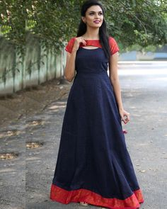 Oxford blue anarkali dress is part of Anarkali dress pattern - This is the madurai sungudi zari cotton maxi dress with a detailed neckline Salwar Designs, Kurti Designs Party Wear, Lehenga Designs, Long Gown Dress, Frock Dress, Sari Dress, Saree Gown, Dress Skirt, Lehenga Skirt