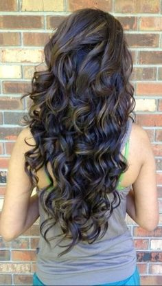 Long Curly Hairstyle for Dark Brunette Hair