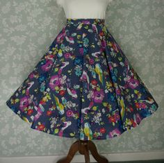 "Vintage 80s circle skirt, swing skirt, birds, floral pattern fabric, 33"" BY Katie Stevens"