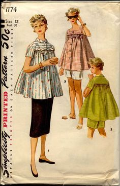1950s Maternity Separates Pattern Simplicity 1174 Misses Tops Shorts Skirt Womens Vintage Sewing Pattern Bust 30.