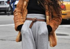 Classy fur with joggers - From tumblr, copyrights to the owner