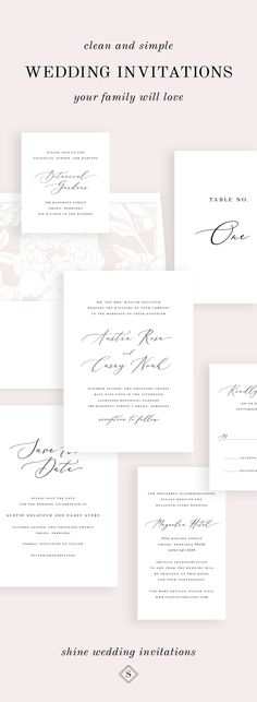 Wow your guests with romantic light pink wedding invitations. This calligraphy font creates an elegant light and airy feel. Choose from various floral envelope liners to add a pop of color to your wedding invites. From save the dates and invitations, to place cards and table numbers, Shine has all the matching components you'll need. Shop the collection today! Shine Wedding Invitations, Minimalist Wedding Invitations, Wedding Stationary, Wedding Paper, Our Wedding, Dream Wedding, Wedding Ideas, Wedding Advice, Wedding Themes