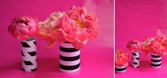 Painted paper wrapped around recycled glass jars - DIY