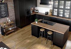 Cuisine bistrot : trucs et récups' ! Home Decor Kitchen, New Kitchen, Home Kitchens, Kitchen Dining, Bistro Kitchen, Black Kitchens, Modern Kitchen Design, Interior Design Kitchen, Black Kitchen Cabinets