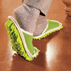 Slipper Genie - the new way to mop, sweep, and rid your floor of dust bunnies. Hahahaha!