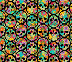 Day of the Dead flowered skull black on multi fabric by thirdhalfstudios on Spoonflower - custom fabric