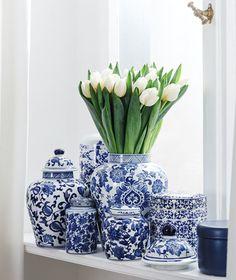 »Blue Country« Deckelvasen Anabelle in verschiedenen Größen