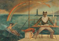 "This painting was commissioned for the interior of La Méditerranée, a seafood restaurant that still operates in Paris. The restaurant was a favorite with writers and artists, at whose instigation Balthus created this work. The feline creature is considered to be a self-portrait of Balthus. See this work on view in ""Cats and Girls."" http://met.org/17Rx2nM   Balthus (Balthasar Klossowski) (French, 1908–2001) 
