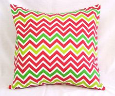 CHRISTMAS Pillow Cover  Red & Green Chevron  by SewGracious $16.99
