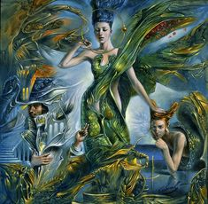 """Michael Cheval Proserpina 18"""" x 18"""", oil on canvas"""