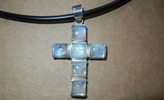 """RAINBOW MOONSTONE STERLING CROSS PENDANT 1 1/2 x 2"""" with 18"""" NECKLACE NEW #Pendant"""