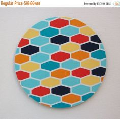 SALE - Mouse Pad mousepad / Mat - Rectangle or round -  Hexagons Turquoise yellow blue - geometric