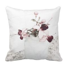 Fuchsia Magellanica Study in Purple Throw Pillow - watercolor gifts style unique ideas diy