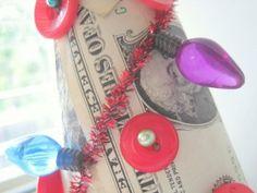 Make money tree Christmas Trees, Christmas Holidays, Christmas Crafts, Xmas, Styrofoam Crafts, Money Trees, Button Crafts, Graduation Ideas, Grandparents