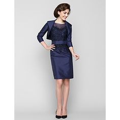Sheath+/+Column+Mother+of+the+Bride+Dress+Knee-length+3/4+Length+Sleeve+Taffeta+with+Appliques+–+GBP+£+76.99