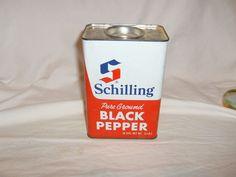 Vintage Large SCHILLING BLACK PEPPER spice tin, 16 ozs. All Metal, advertising #SchillingMcCormick