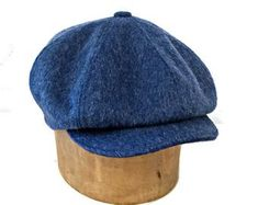 Men's Newsboy Cap in Blue Mohair Wool Made to Order Mens Newsboy Hat, Make Your Own Hat, Driving Cap, Leather Hats, Stylish Mens Outfits, News Boy Hat, Hats For Men, Hat Men, Cool Hats