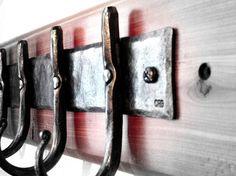 Rustic hand forged blacksmith 4 hook set