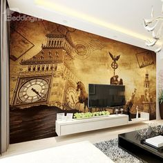 European Vintage Style Big Ben Pattern Waterproof Splicing 3D Wall Murals
