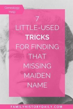 Find a Missing Maiden Name With These Tricks If you're completely stuck trying to find the maiden name of one, or many, of your female ancestors you're not alone. Here are some tricks to help. Genealogy Websites, Genealogy Forms, Genealogy Chart, Family Genealogy, Genealogy Search, Genealogy Humor, Family Tree Research, Genealogy Organization, My Family History