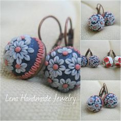 Polymer clay jewelry - Lena Handmade Jewelry Handmade polymer clay- little flowers