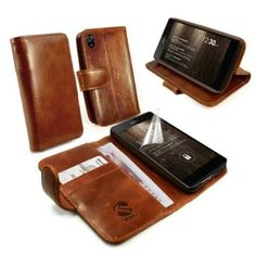 Tuff-Luv Vintage Leather Wallet/Stand Case Cover with Screen Protector for Sony Xperia Z2 - Brown