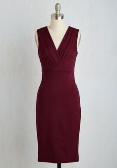 Professional Confession Dress. Your best kept secret for feeling your absolute best from conference calls to cocktails is this burgundy dress! #gold #prom #modcloth