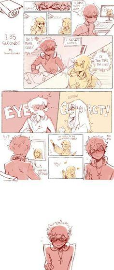 cute. eye contact. seven. blush.