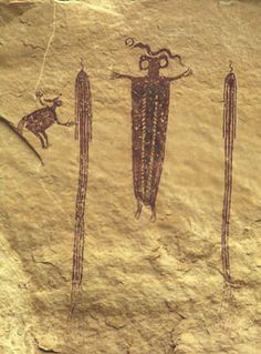 One of the Head of Sinbad pictograph panels, 385 x 284 pixels, 47 K. Ancient Mysteries, Ancient Artifacts, Ancient Aliens, Ancient History, Southwest Art, Art Sites, Native American Art, Tribal Art, Rock Art