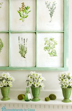 Spring Mantel with botanical prints on old window