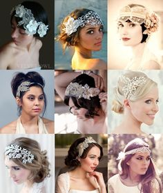 Statement Wedding Headbands Mood Board from The Wedding Community Bridal Fascinator, Wedding Headband, Bridal Hair, Bridal Headbands, Gatsby Headband, Chic Wedding, Dream Wedding, Wedding Day, Wedding Vintage