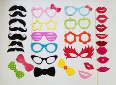 Photobooth parti les accessoires vacances photomaton accessoires ensemble de 30 verres, les lèvres et les moustaches