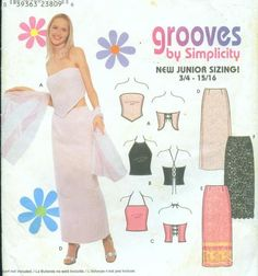 Womens Maxi Skirt and Halter Top in 3 Styles Size to Bust 28 to Uncut Simplicity Sewing Pattern 9129 Lace Up Back Semi Formal Wear, Womens Maxi Skirts, Straight Skirt, Simplicity Sewing Patterns, Vintage Tops, Sewing Ideas, Style, Main Street, 1990s