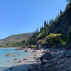 "Laura Scott on Instagram: ""Morning beach #Kardamyli #peloponnese #greece #cypresstrees"" Greece, Cypress Trees, River, Mountains, Instagram, Beach, Nature, Outdoor, Greece Country"