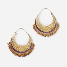 Amethyst Jaali Filigree Hoop Earring by Isharya
