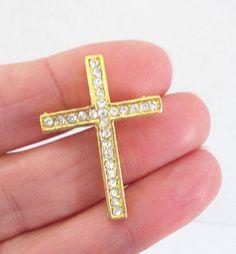 Cross Bracelet Connector  Gold Sideway Cross Link  Clear