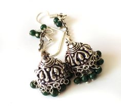 Forest Green Jhumka Earrings, SILVER Jhumkas,Forest Green beaded Jhumkis,Ethnic, tribal jewelry,Indian Jewelry,artisan Jewelry by Taneesi by taneesijewelry on Etsy