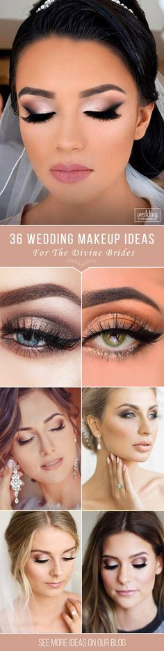 36 Wedding Make Up Ideas For Stylish Brides ❤️ We've created collection of wedding makeup. There are ideas for unique make up, elegant, make up that will be appropriate for different eyes' colours. See more: http://www.weddingforward.com/wedding-makeup/ ‎#wedding #bride #weddingmakeup