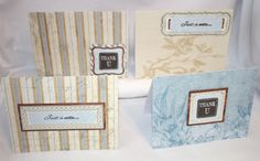 Handcrafted by Teal Palmetto, LLC.  Four notecards in shades of cream, taupe, and blue to send someone a cheery note or to express your appreciation.  Price: $10.
