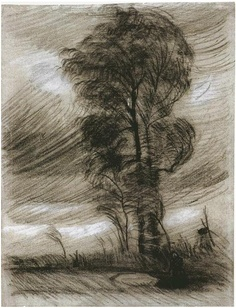 Landscape in Stormy Weather - Vincent van Gogh . Created in Nuenen in June - August, Located at Van Gogh Museum Vincent Van Gogh, Art Van, Van Gogh Zeichnungen, Desenhos Van Gogh, Van Gogh Arte, Van Gogh Drawings, Van Gogh Paintings, Van Gogh Pinturas, Van Gogh Landscapes