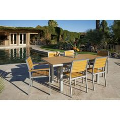 7 Piece Dining Set Table Chairs Outdoor Patio Furniture Entertaining Barbecue.