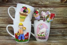 Polymer clay mugs and spoon - little pony / builder / ice cream /