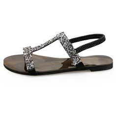 LUCLUC Silver T Strap Flat Sandals with Rhinestones (155 RON) ❤ liked on Polyvore featuring shoes, sandals, short heel shoes, low heel shoes, rhinestone flat shoes, small heel shoes and rhinestone sandals