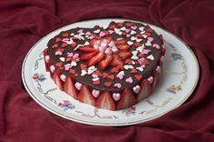 Valentine's Day Chocolate Cake with strawberry garnish - so pretty!