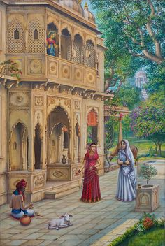Daily Indian life- Indian painting #incredible #indian #architecture