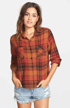 Free shipping and returns on Volcom 'Desert Coast' Plaid Shirt at Nordstrom.com. A shorter hem lends a feminine fit to a laid-back flannel shirt with a supercute and totally unique asymmetrical back seam.
