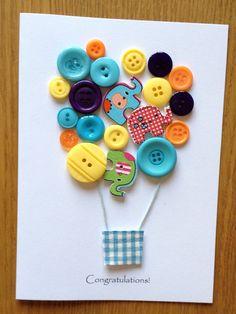 Button art hot air balloon Congratulations card handmade on Etsy, £4.00